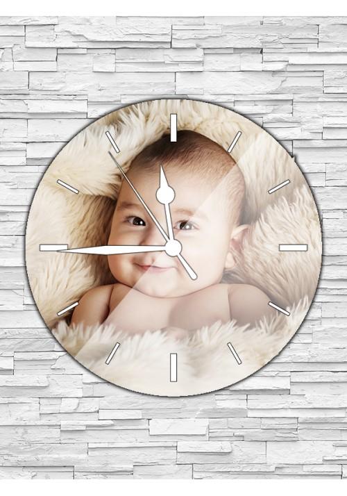 Horloge ronde 30 cm sans chiffres blancs